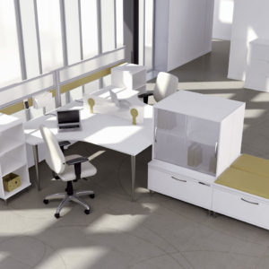 Air Workstations with Guest Seating Cushions