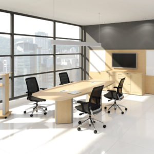Boardroom Table with Media Wall and Podium