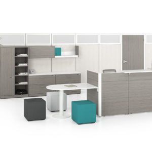 Reception with Panels, Modular Storage, and Guest Seating